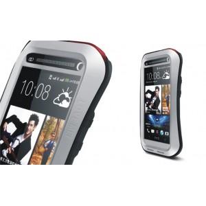 Эксклюзивный многомодульный ультрапротекторный пылевлагозащищенный ударостойкий чехол алюминиевый сплав/силиконовый полимер для HTC One (М7) Dual SIM