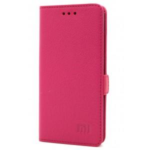 Кожаный чехол горизонтальная книжка (премиум нат. кожа) с крепежной застежкой для Xiaomi Mi5S Пурпурный