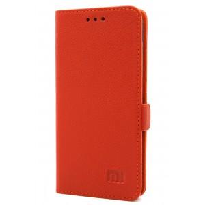 Кожаный чехол горизонтальная книжка (премиум нат. кожа) с крепежной застежкой для Xiaomi Mi5S Оранжевый