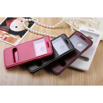 Чехол флип подставка на пластиковой основе с окном вызова и свайпом для HTC One (М7) Dual SIM
