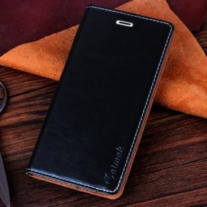 Чехол флип-подставка вощеная кожа на присоске для Microsoft Lumia 535 Черный