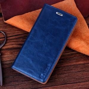 Чехол флип-подставка вощеная кожа на присоске для Microsoft Lumia 535 Синий
