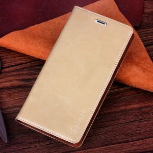 Чехол флип-подставка вощеная кожа на присоске для Microsoft Lumia 535