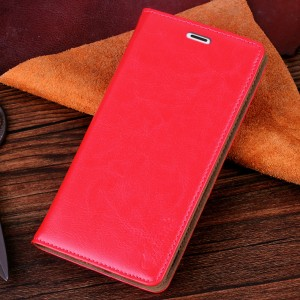 Чехол флип-подставка вощеная кожа на присоске для Microsoft Lumia 535 Розовый