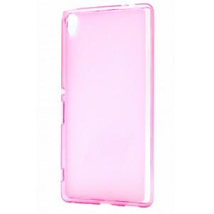 Силиконовый матовый полупрозрачный чехол для Sony Xperia XA Ultra Розовый