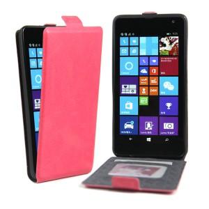 Чехол вертикальная книжка на силиконовой основе с отсеком для карт на магнитной защелке для Microsoft Lumia 535 Пурпурный