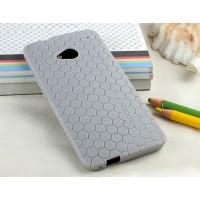 Силиконовый чехол повышенной защиты (узор соты) для HTC One (М7) Dual SIM Серый