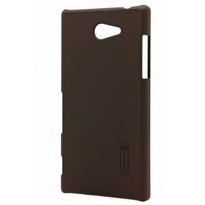 Пластиковый матовый премиум чехол для Sony Xperia M2 Коричневый