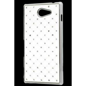 Пластиковый чехол со стразами для Sony Xperia M2 dual Белый
