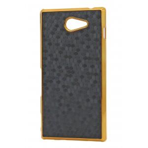 Пластиковый матовый чехол текстура Соты для Sony Xperia M2 dual