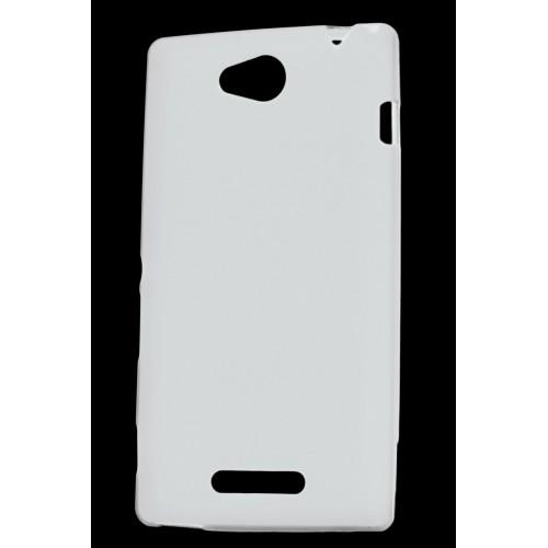Силиконовый непрозрачный чехол для Sony Xperia C Белый