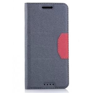 Чехол горизонтальная книжка подставка на силиконовой основе с отсеком для карт и тканевым покрытием для HTC 10
