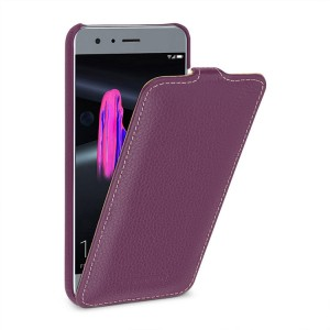 Кожаный чехол вертикальная книжка (премиум нат. кожа) для Huawei Honor 9 Фиолетовый