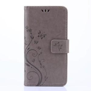 Чехол портмоне подставка текстура Цветы на силиконовой основе с отсеком для карт на магнитной защелке для Huawei Honor 8 Lite