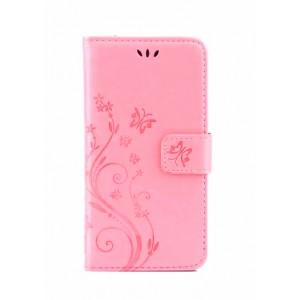 Чехол портмоне подставка текстура Цветы на силиконовой основе с отсеком для карт на магнитной защелке для Huawei Honor 8 Lite Розовый