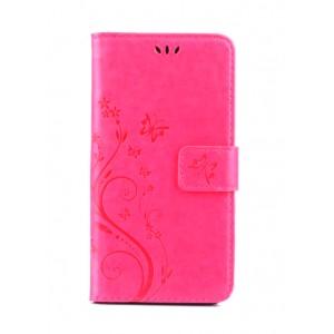 Чехол портмоне подставка текстура Цветы на силиконовой основе с отсеком для карт на магнитной защелке для Huawei Honor 8 Lite Пурпурный