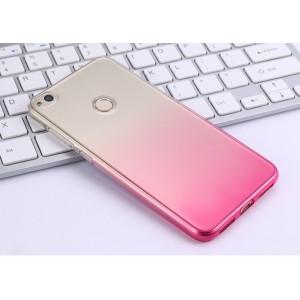 Силиконовый глянцевый полупрозрачный градиентный чехол для Huawei Honor 8 Lite Розовый