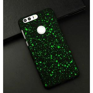 Пластиковый непрозрачный матовый чехол с голографическим принтом Звезды для Huawei Honor 8 Зеленый