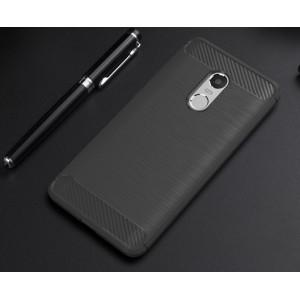 Силиконовый матовый непрозрачный чехол с текстурным покрытием Металлик для Xiaomi RedMi Note 4 Серый