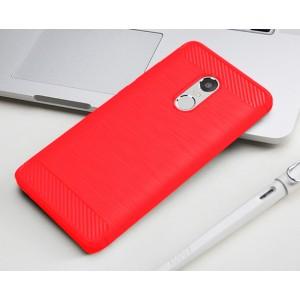 Силиконовый матовый непрозрачный чехол с текстурным покрытием Металлик для Xiaomi RedMi Note 4 Красный