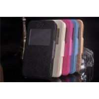 Универсальный (на силиконовой основе) чехол флип с магнитной застежкой и окном вызова для телефона 4.3-4.5 дюймов