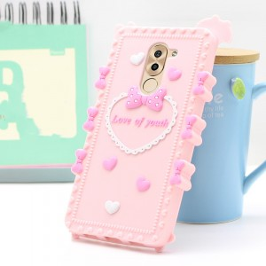 Силиконовый матовый непрозрачный дизайнерский фигурный чехол для Huawei Honor 6X Розовый