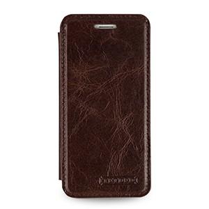 Кожаный чехол горизонтальная книжка (нат. кожа с вощеным покрытием) для Iphone 6 Коричневый
