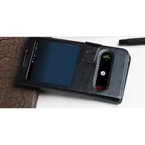 Универсальный (клеевой) чехол флип с окном вызова и свайпом с магнитной застежкой для телефонов 3.5-4.0 дюймов