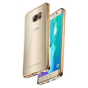 Силиконовый глянцевый полупрозрачный чехол с напылением Металлик для Samsung Galaxy S7 Edge Бежевый