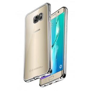 Силиконовый глянцевый полупрозрачный чехол с напылением Металлик для Samsung Galaxy S7 Edge Белый