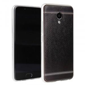 Силиконовый матовый полупрозрачный чехол с текстурным покрытием Кожа для Meizu M5 Note