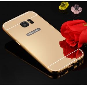 Двухкомпонентный чехол с металлическим бампером и поликарбонатной накладкой с зеркальным покрытием для Samsung Galaxy S7 Edge Бежевый