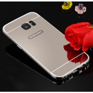 Двухкомпонентный чехол с металлическим бампером и поликарбонатной накладкой с зеркальным покрытием для Samsung Galaxy S7 Edge Белый