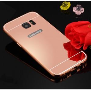 Двухкомпонентный чехол с металлическим бампером и поликарбонатной накладкой с зеркальным покрытием для Samsung Galaxy S7 Edge Розовый