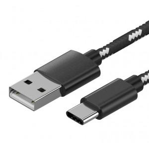 Зарядный кабель в тканевой оплетке USB 3.1 Type-C 1m Черный