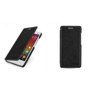 Кожаный чехол горизонтальная книжка (нат. кожа) для Xiaomi Mi4 Черный