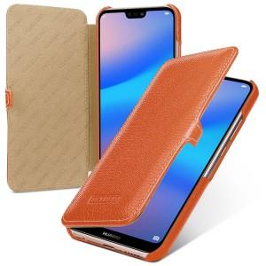 Кожаный чехол горизонтальная книжка (премиум нат. кожа) с крепежной застежкой для Huawei P20 Lite