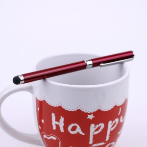 Двусторонний универсальный емкостной стилус-ручка Красный