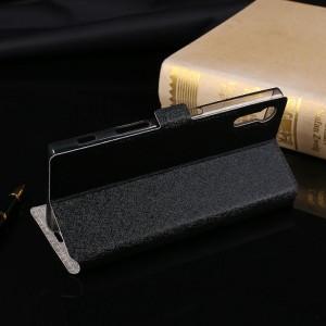 Чехол горизонтальная книжка подставка текстура Золото с отсеком для карт для Sony Xperia XZ/XZs