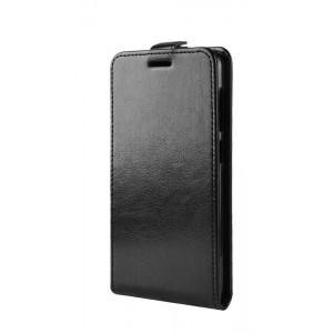 Глянцевый водоотталкивающий чехол вертикальная книжка на силиконовой основе с отсеком для карт на магнитной защелке для ASUS ZenFone 5 Lite Черный