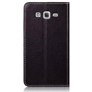 Кожаный чехол флип на присосках для Samsung Galaxy Grand 2 Duos Черный
