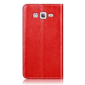 Кожаный чехол флип на присосках для Samsung Galaxy Grand 2 Duos Красный