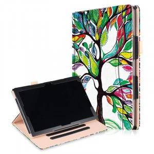 Кожаный глянцевый водоотталкивающий вощеный чехол книжка подставка с рамочной защитой экрана, крепежом для стилуса, отсеком для карт, поддержкой кисти и полноповерхностным принтом для Huawei MediaPad M5 10.8
