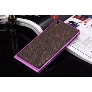 Металлический винтовой бампер повышенной прочности с клеевой накладкой с рельефным принтом для Sony Xperia Z3 Фиолетовый