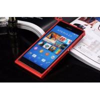 Металлический винтовой бампер повышенной прочности с клеевой накладкой с рельефным принтом для Sony Xperia Z3 Красный