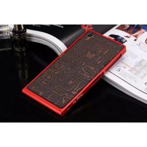 Металлический винтовой бампер повышенной прочности с клеевой накладкой с рельефным принтом для Sony Xperia Z3 Оранжевый