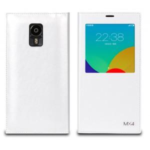 Чехол смарт флип на пластиковой основе с окном вызова и логотипом для Meizu MX4