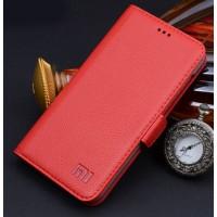 Кожаный чехол горизонтальная книжка (нат. кожа) с крепежной застежкой для Xiaomi Mi4 Красный