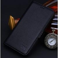 Кожаный чехол горизонтальная книжка (нат. кожа) с крепежной застежкой для Xiaomi Mi4 Черный