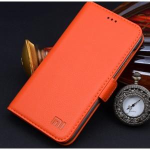 Кожаный чехол горизонтальная книжка (нат. кожа) с крепежной застежкой для Xiaomi Mi4 Оранжевый